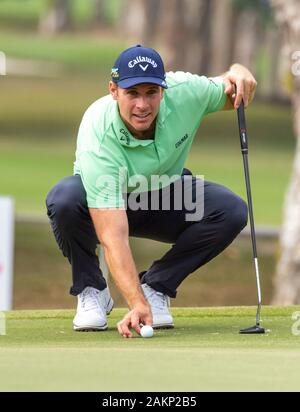 FANLING,HONG KONG SAR,CHINA: JANUARY 9th 2020. Hong Kong Open Golf Round 2. Andrea Pavan of Italy on the 6th green.Alamy Live news/Jayne Russell - Stock Photo