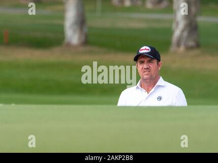 FANLING,HONG KONG SAR,CHINA: JANUARY 9th 2020. Hong Kong Open Golf Round 2. Scott End of Australia on the 6th green.Alamy Live news/Jayne Russell - Stock Photo