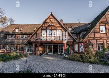 Luneberg, Germany - Nov 10, 2019: Typical german restaurant in Heide woodland - Stock Photo