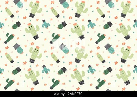 Seamless Pattern with cactus concept in the white backdrop.creative pattern texture for fabric, wrapping, textile, wallpaper, apparel. - Stock Photo