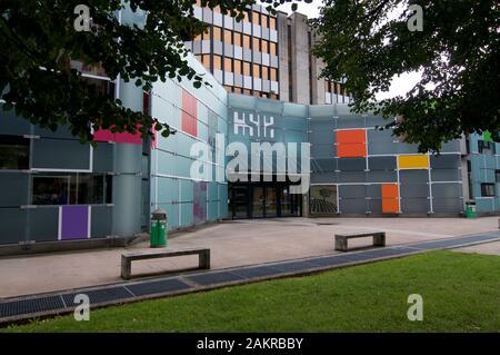Lugano, Ticino, Switzerland - 6th September 2019 : View of the CSIA school entrance in Lugano, Switzerland. CSIA is the cantonal school of applied art - Stock Photo
