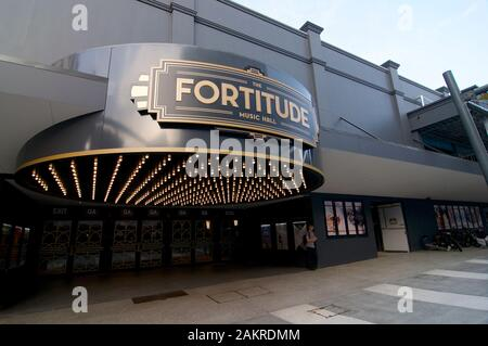 Brisbane, Queensland, Australia - 13th November 2019 : View of the Art Deco inspired Fortitude music hall entrance located in Fortitude Valley distric - Stock Photo
