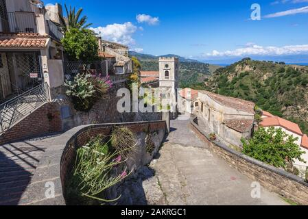 Street in Savoca village on Sicily Island in Italy - view with Church of San Nicolo also known as Church of San Lucia - Stock Photo
