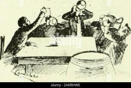 La Mujer . —Primer vaso. —dijo el anfitrión ó sea el jóven Heliando el suyo en la canilla del tonel. Los demás lo imitaron y los cinco apuraron aquel líquido como podrían ha-cerlo ustedes con tm vasode agua. Es que aquelloseran grandes bebedores Siguió el segundo va-so, el tercero y el cuartocuando el dueño de casadijo á los demás: — Aunque todos somosmuy honrados, bueno essaber si tenemos nuestros contratos en regla. — Aquí está el mío! —cxolamó uno de aqutllos be-bedores sacando una canora y de olla un pliego quepasódemanoen mano: estaba en regla. Los demás lo iniitaron. S e 11 o n a r o n d - Stock Photo
