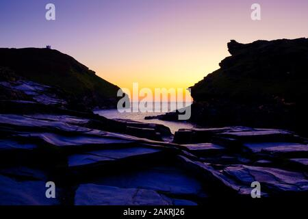 The harbour at Boscastle Plymouth Cornwall England at sunset - Stock Photo