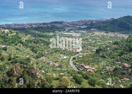 Aerial view from hilltop in Savoca village on Sicily Island in Italy - Santa Teresa di Riva and Sant Alessio Siculo villages - Stock Photo