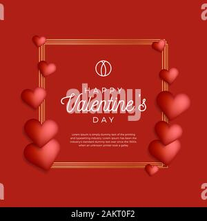 Lovely gold outline frame or border with hearts for valentine day stock vector illustration. Creative card, poster, banner or flyer design - Stock Photo