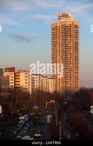 the skyscraper Colonia-House in the district Riehl, river Rhine, Cologne, Germany,  das Colonia-Haus im Stadtteil Riehl, Rhein, Kolen, Deutschland. - Stock Photo
