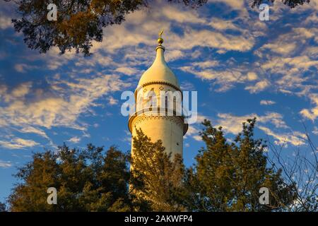 The Lednice Minaret, a Moorish style viewing-tower built in the middle of Lednice-Valtice Complex, Lednice, Czech Republic. - Stock Photo