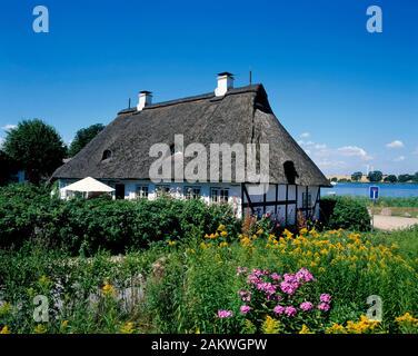 Sieseby, typical  house, Schlei, Balic Sea Coast, Schleswig-Holstein, Germany - Stock Photo