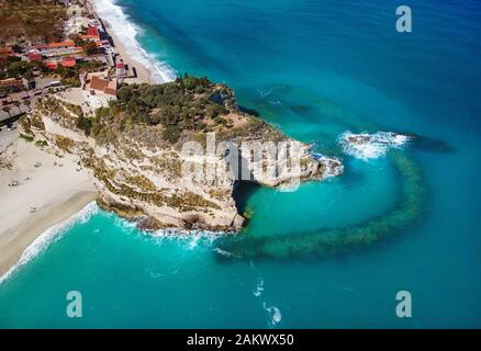 Sanctuary of Santa Maria Island aerial view - Tropea, Calabria, Italy - Stock Photo