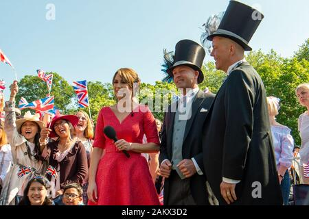 Royal Wedding Day, Windsor, Berkshire, UK. 19th May, 2018.  BBC One Show TV Presenter Alex Jones was reporting live from the Long Walk in Windsor on the day of the Royal Wedding of Prince Harry and Meghan Markle. Credit: Maureen McLean/Alamy