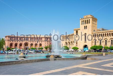 Government House and Armenia Marriott Hotel on Republic Square, Yerevan, Armenia.