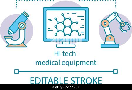 Hi tech medical equipment concept icon. Nanotechnology and robotization. Progressive diagnosis and treatment procedures idea thin line illustration. V - Stock Photo
