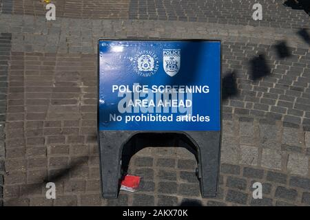 Royal Wedding Day, Windsor, Berkshire, UK. 19th May, 2018.  A Police Screening sign in Peascod Street on the day of the Royal Wedding of Prince Harry and Meghan Markle. All those coming into the town had to go through Xray machines. Credit: Maureen McLean/Alamy - Stock Photo