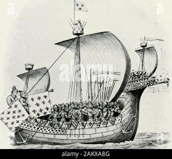 Heresies of sea power . SHIP OF THE SPANISH ARMADA.. SHIP OF WILLIAM THE CONQUEROR. (Seep. 282). THE SPANISH AEMADA 81 better gunners, and (an important point) ports thatadmitted of far better training of the guns. TheEnglish were also altogether better seamen, and theirships infinitely more handy, so that, despite thenumerical inferiority of the English, the Spaniardsnever had that certain naval superiority which was acardinal feature both of Santa Cruzs first plan andof the modified plan finally adopted. The Spaniards,indeed, had nothing in their favour except bulk and theprestige of Spain. - Stock Photo