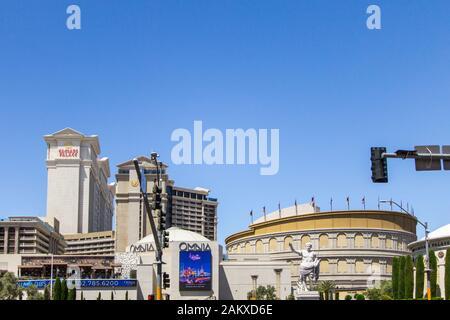 Las Vegas, Nevada, USA - May 6, 2019: Exterior of the Caesars Palace mega resort and casino on the Las Vegas Strip. - Stock Photo