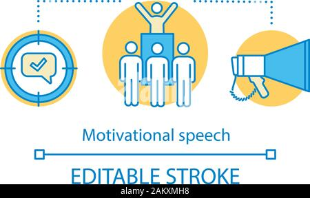 Motivational speech concept icon. Protest, meeting action idea thin line illustration. Leadership skills. Public speaking. Political leader. Orator, s - Stock Photo