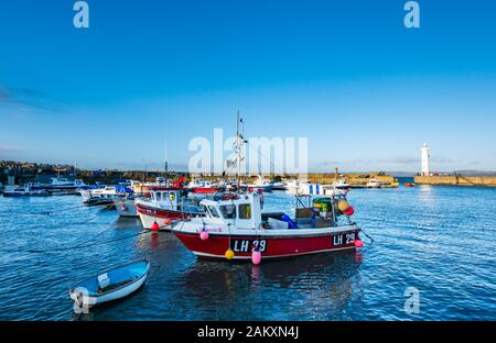Fishing boats moored in Newhaven Harbour, Edinburgh, Scotland, UK - Stock Photo