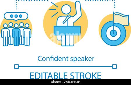 Confident speaker concept icon. Leader speech tips. Politician. Leadership skills. Meeting, protest. Public speaking idea thin line illustration. Orat - Stock Photo