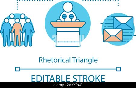 Rhetorical triangle concept icon. Public speaking. Orator, politician. Idea thin line illustration. Leader speech tips. Speaker, audience, message. Ve - Stock Photo