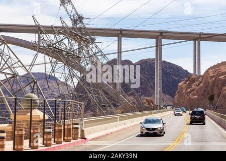 Boulder City, Nevada, USA- 01 June 2015: View of the Hoover Dam, a concrete gravitational arc dam, built in the Black Canyon on the Colorado River. Br - Stock Photo