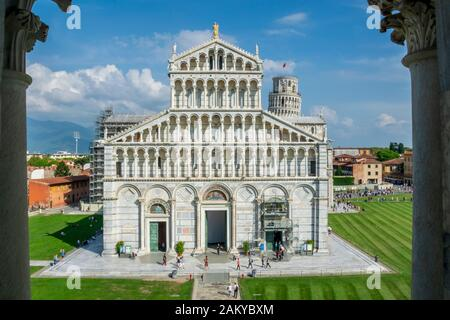 Pisa Cathedral seen from the San Giovanni Baptistery, the Leaning Tower of Pisa, Piazza del Duomo, Tuscany, Italy - Stock Photo