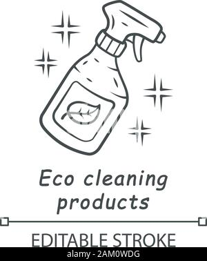 Eco cleaning products linear icon. Chemicals free spray bottle. Organic, eco friendly cleaning product. Thin line illustration. Contour symbol. Vector - Stock Photo