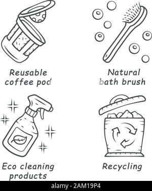 Zero waste swaps handmade linear icons set. Eco friendly materials. Eco cleaning products, reusable k-cup bath brush. Thin line contour symbols. Isola - Stock Photo