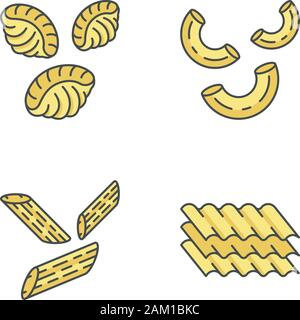 Pasta noodles color icons set. Different Mediterranean macaroni. Shells, elbows, penne, lasagne sheets. Types of dry dough products. Traditional Itali - Stock Photo