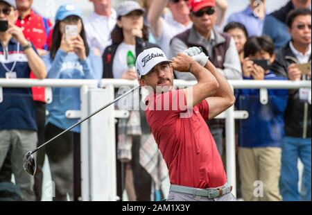 Hong Kong. 11th Jan, 2020. FANLING, HONG KONG SAR: JANUARY 10th 2020. Hong Kong Open Golf Round 3. Wade Ormsby of Australia holds the lead on day 3 of the tournament. Ormsby on the 1st tee.Alamy Live news/Jayne Russell - Stock Photo