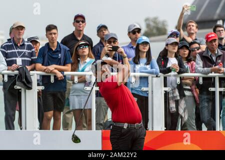 Hong Kong. 11th Jan, 2020. FANLING, HONG KONG SAR: JANUARY 10th 2020. Hong Kong Open Golf Round 3. Shiv Kapur of India on day 3 of the tournament. Teeing off on the 1st.Alamy Live news/Jayne Russell - Stock Photo
