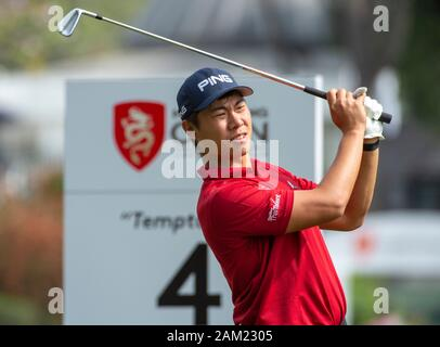 Hong Kong. 11th Jan, 2020. Hong Kong Open Golf Round 3. Gunn Charoenkul of Thailand challenges Wade Ormsby for the top of the leaderboard on day 3 of the tournament. Teeing off at the 4th tee.Alamy Live news/Jayne Russell - Stock Photo