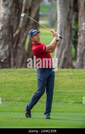 Hong Kong. 11th Jan, 2020. Hong Kong Open Golf Round 3. Gunn Charoenkul of Thailand challenges Wade Ormsby for the top of the leaderboard on day 3 of the tournament.On the 4th fairway.Alamy Live news/Jayne Russell - Stock Photo