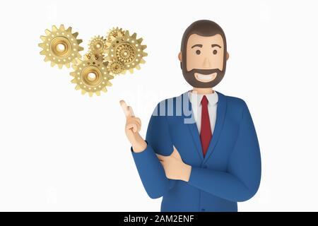 Cartoon character, businessman in suit with pointing finger at an gears. Business concept gears icon. 3d rendering - Stock Photo