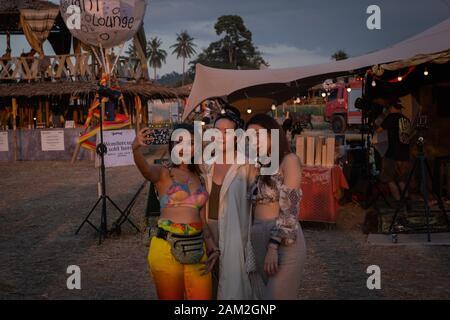 PATTAYA, THAILAND - DECEMBER 15: People during wonderfruit 2019 festival, asian burning man on December 15, 2019 in Pattaya, Thailand. - Stock Photo