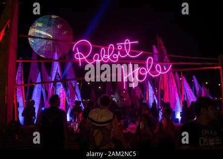 PATTAYA, THAILAND - DECEMBER 15: People during wonderfruit 2019 festival, asian burning man on December 15, 2019 in Pattaya, Thailand. - Stock Photo