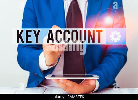 Writing note showing Key Account. Business concept for individual approach of sales showing to their customers Businessman pointing with pen in empty - Stock Photo