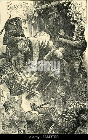 Lord Kilgobbin : a tale of Ireland in our own time . on to the word,he raised his arm to make space for him to pass out. Gill, no soonerdid he feel the arm graze his chest, than he struck OShea acrossthe face; and though the blow was that of an old man, the insultwas so maddening that OShea, seizing him by the arms, draggedhim out upon the balcony. Hes going to throw the old man over, cried several of thoseocneath, and, amidst the tumult of voices, a number soon rushed upthe stairs and out on the balcony, where the old fellow was clingingto OSheas legs in his despairing attempt to save himself - Stock Photo