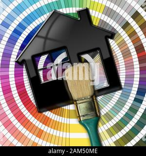 Close-up of a paintbrush, photography, on a black model house, 3D illustration, on a color palette guide. Home improvement concept