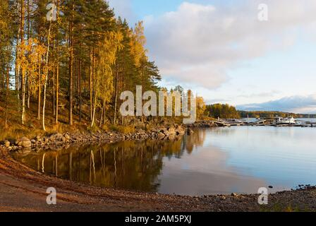 Puumala, Finland–October 5, 2019: Waterside of Saimaa Lake on the territory of Sahanlahti Resort. Puumala Municipality. Southern Savonia (Savo) Region - Stock Photo