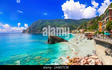 Beautiful Monterosso al Mare,view with turquoise sea and mountains,Liguria,Italy. - Stock Photo