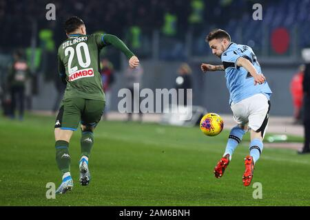 Rome, Italy. 11th Jan 2020. Manuel Lazzari of Lazio (R) and Piotr Zielinski of Napoli (L) in action during the Italian championship Serie A football match between SS Lazio and SSC Napoli on January 11, 2020 at Stadio Olimpico in Rome, Italy - Photo Federico Proietti/ESPA-Imaes Credit: European Sports Photographic Agency/Alamy Live News - Stock Photo
