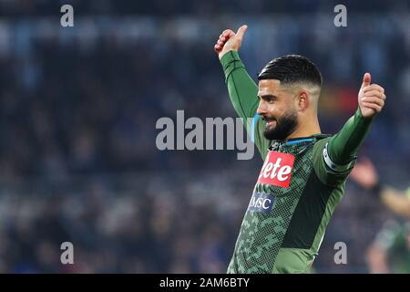 Rome, Italy. 11th Jan 2020. Lorenzo Insigne of Napoli gestures during the Italian championship Serie A football match between SS Lazio and SSC Napoli on January 11, 2020 at Stadio Olimpico in Rome, Italy - Photo Federico Proietti/ESPA-Imaes Credit: European Sports Photographic Agency/Alamy Live News - Stock Photo