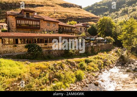 Barcena Mayor, Spain. Views of the houses of this scenic town in the inner Cantabria - Stock Photo