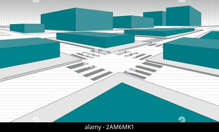 Detail of a 3-dimensional city map with green blocks simulating buildings and streets in white outlined with black line. Vector image - Stock Photo