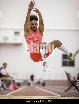 College Station, Texas, USA. 11th Jan, 2020. Caleb Malbrough competes in the Boys triple jump during the Texas A&M High School Indoor Classic at the McFerrin Athletic Center's Gilliam Indoor Stadium in College Station, Texas. Prentice C. James/CSM/Alamy Live News Stock Photo