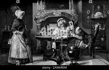 Two aged woman examining a certificate or letter of recommandation presented by a new maid, caricature portrait - Stock Photo