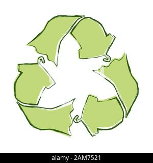 Sketch doodle recycle textiles, reuse clothes symbol isolated on white background. Recycle icon for sustainable fashion, zero waste lifestyle. Hand dr - Stock Photo