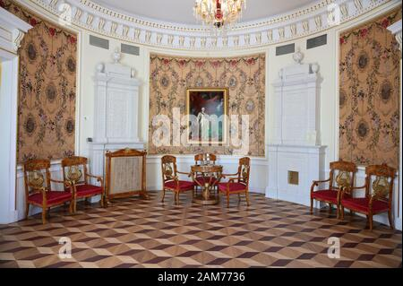 St. Petersburg, Russia - June 24, 2018: Interior of Straw drawing room in the Derzhavin Estate Museum. Opened in 2003, the museum housed in the estate - Stock Photo